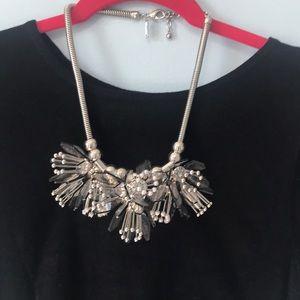 3D flower petal silver necklace